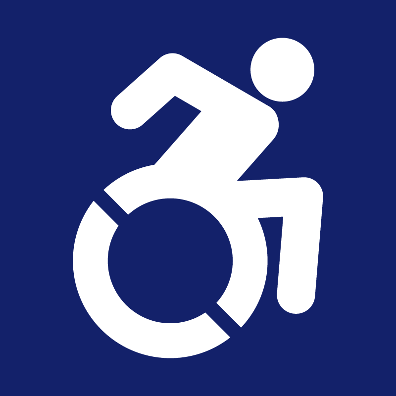 accessibility icon - White silhoutte of person in a fast wheel chair on blue background